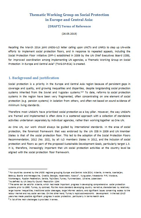 Workspace | The Social Protection Floor Initiative (SPF-I)